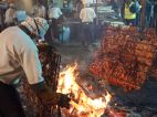 Fire roasted pork crackling.