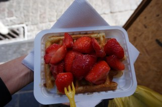 Liege Waffle with fresh berries in Brussels