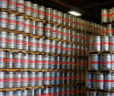 Quarter and half barrel kegs at Trumer Brauerei