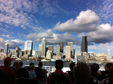Riders on the West Seattle Water taxi leaving downtown