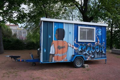 A decorative construction trailer