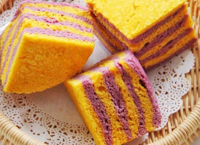 1块南瓜2个紫薯,教你做双色发糕颜值爆表