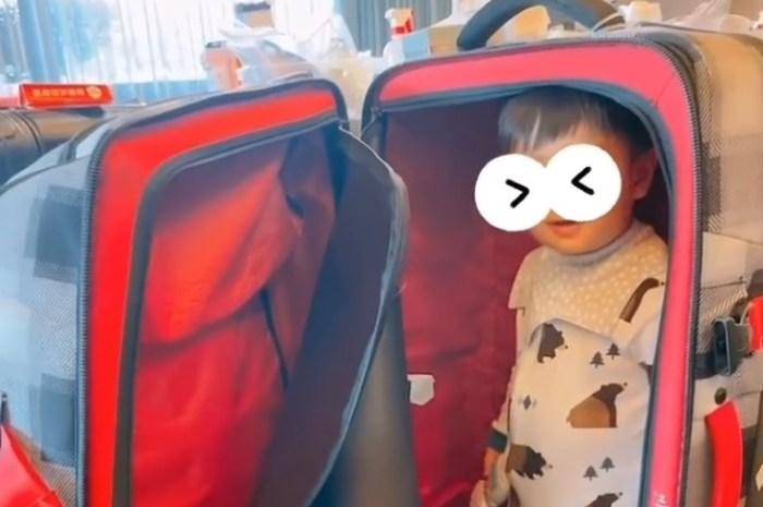 安以軒曬和兒子日常趣事,66躲行李箱幫省機票