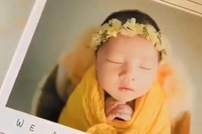 李亞男曬二胎女兒滿月寫真集,小公主清秀甜美