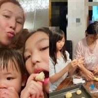 蔡少芬帶兒女做麵包個個顏值高,一家吃得开心简单又快乐