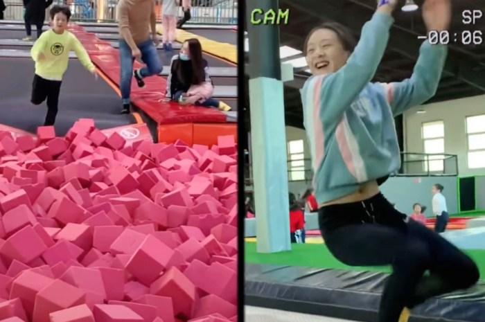 叶一茜晒儿女玩蹦床视频,13岁森碟美丽动人,大长腿十分抢镜
