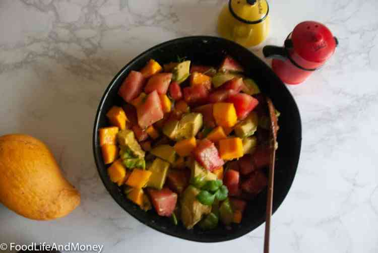 Avocado mango watermelon salad