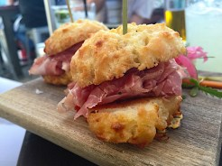 Homemade Cheddar Biscuits with Prosciutto