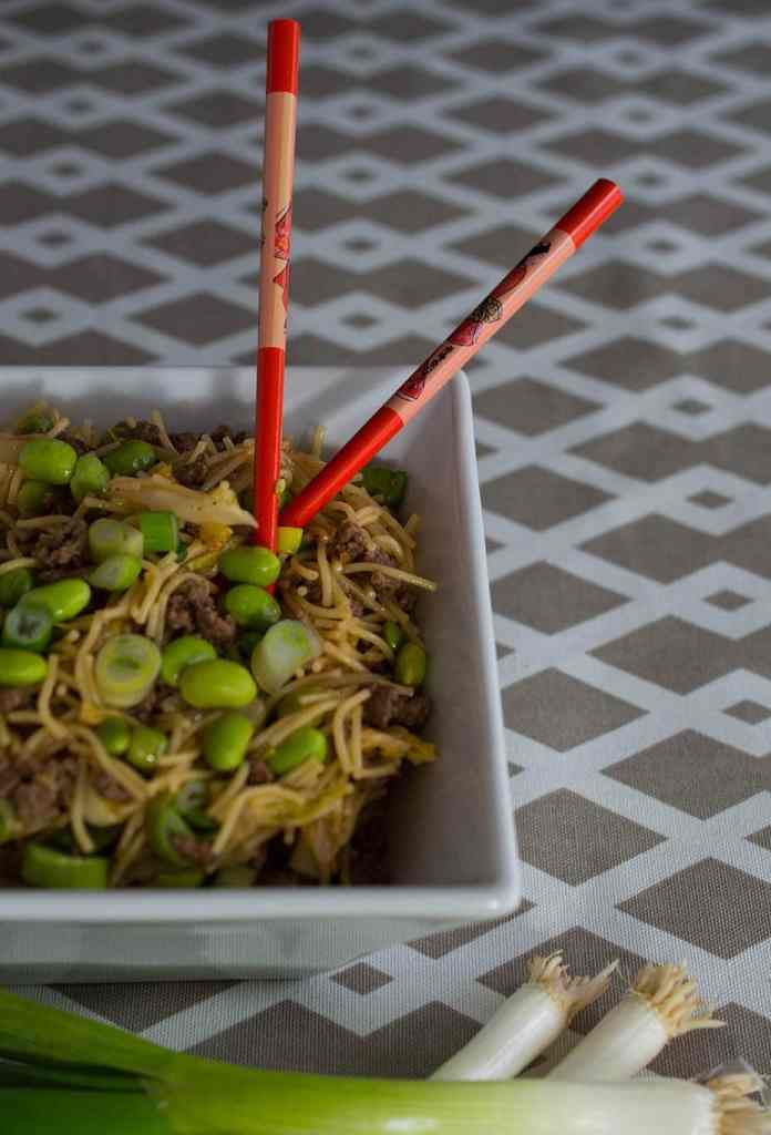 Korean beef and noodle stir fry - This healthy, quick and easy beef and noodle stir fry is flavored with a Korean-style cooking sauce.