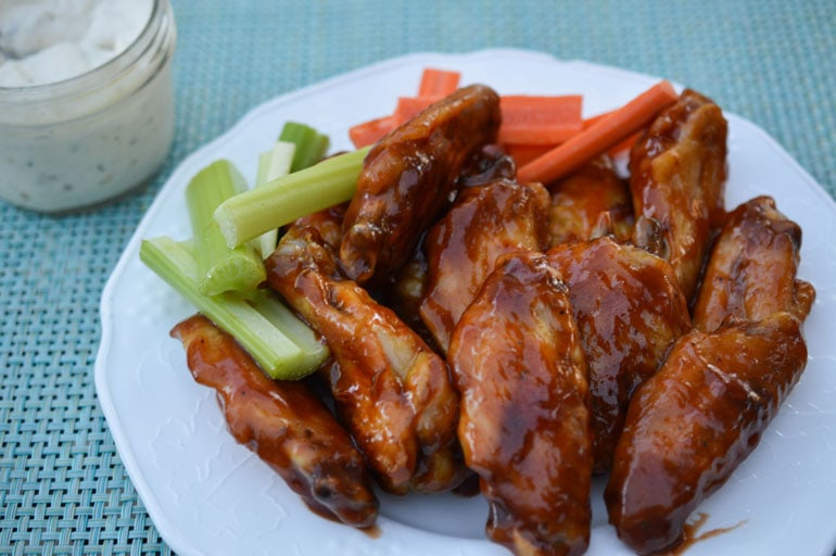 These Baked Honey Barbecue wings are crispy and delicious with no deep frying! The sauce is addictively sweet with a little bit of spice!