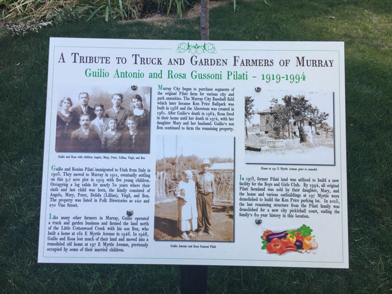 Historic plaque honoring the Pilati family of Murray, Utah