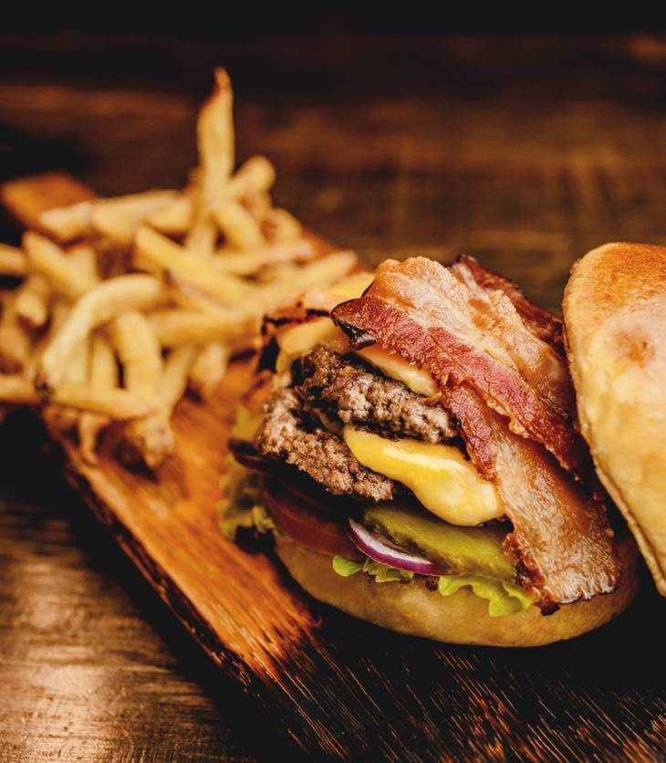 burger and bacon sandwich
