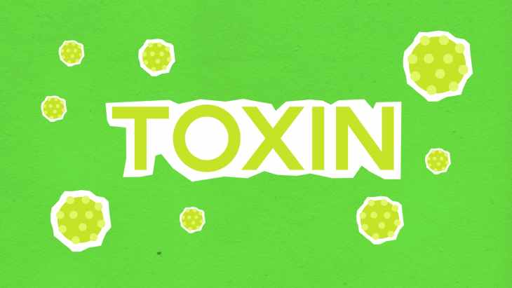 paper cutout of toxin word