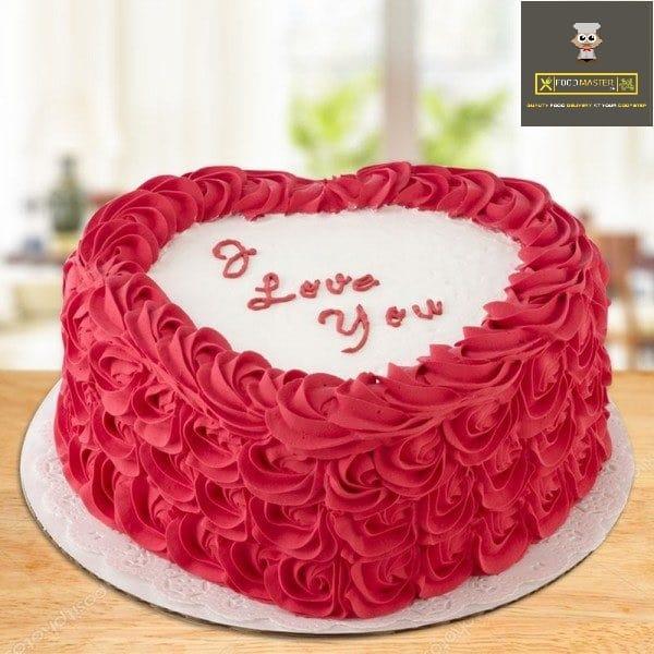 love cake red rosette theme heart cake