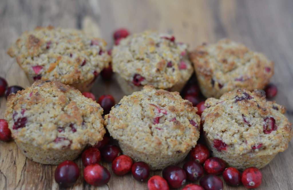 whole grain cranberry muffins with fresh cranberries