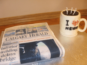 Coffee and Newspaper cake