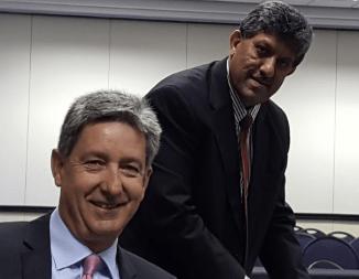 "Advocates Michael Van der Nest SA, left, and Dr Ravin ""Rocky"" Ramdass"