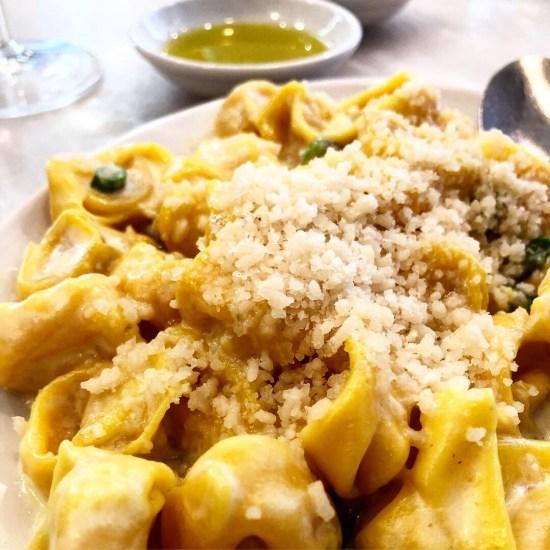 Tortellini with Pork, Proscuitto, Asparagus and Cream at Bocca Di Lupo, London