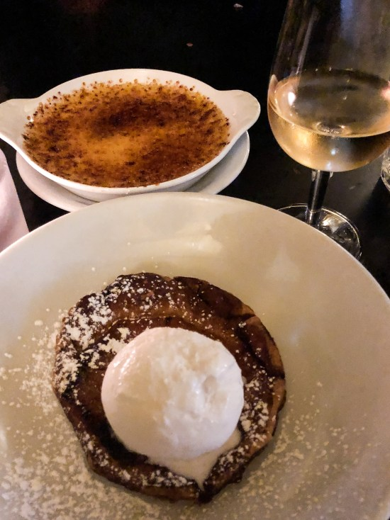 Selection of Desserts, Pineapple Tarte Tatin and Creme Brulee at Hotel Du Vin, Bristol