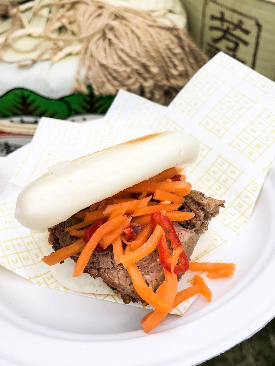 Flesh and Buns - Sesame and Smoked Brisket with Chipotle Miso Sauce, Carrot Pickle in a Toasted Bao - Taste of London 2019 - www.foodnerd4life.com
