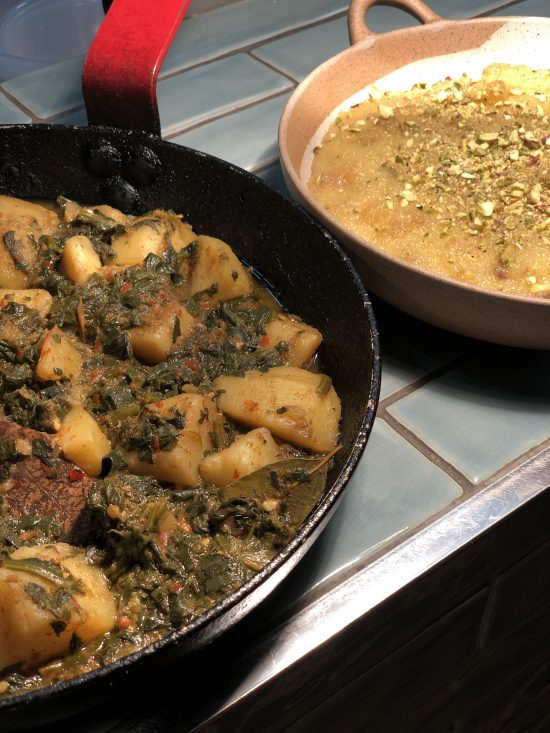 Saag Aloo and Semonlina Pudding at Pakistani Cookery Course wwith Migrateful www.foodnerd4life.com