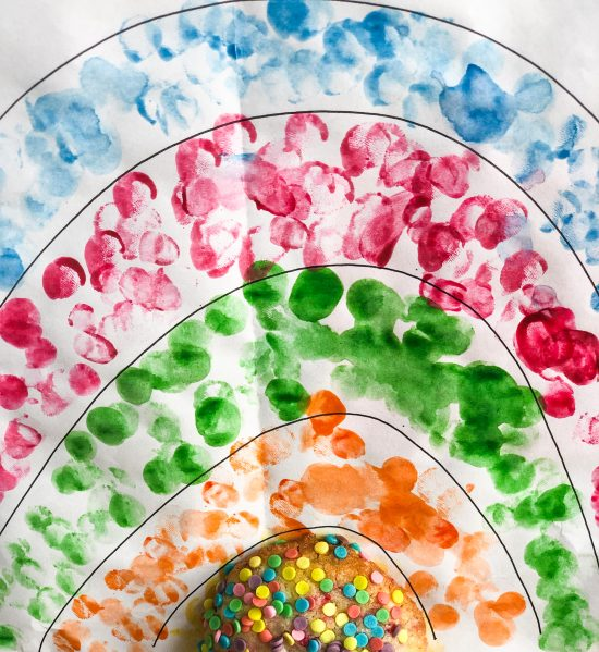 Rainbow Sprinkle Cookie with Rainbow Background - www.foodnerd4life.com