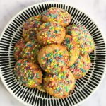 Rainbow Sprinkle Cookies on Plate Overhead Shot - www.foodnerd4life.com