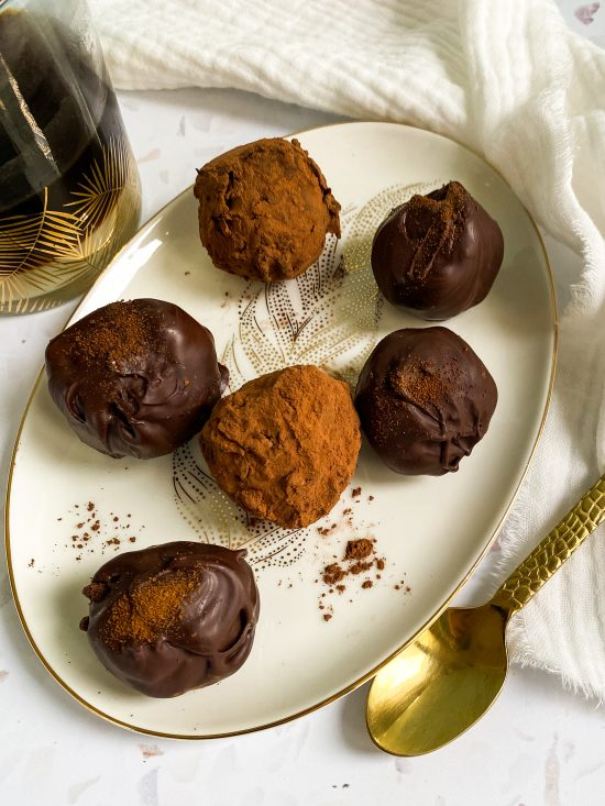 Close Up of Vietnamese Coffee Truffles Recipe on Gold Feather Plate - www.foodnerd4life.com