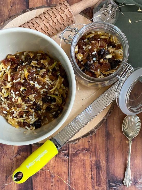 Luxury Mincemeat Recipe in Bowl with Microplane Zester Grater - www.foodnerd4life.com