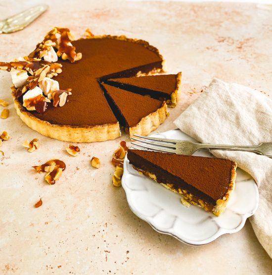 Snickers Tart on Plate - www.foodnerd4life.com
