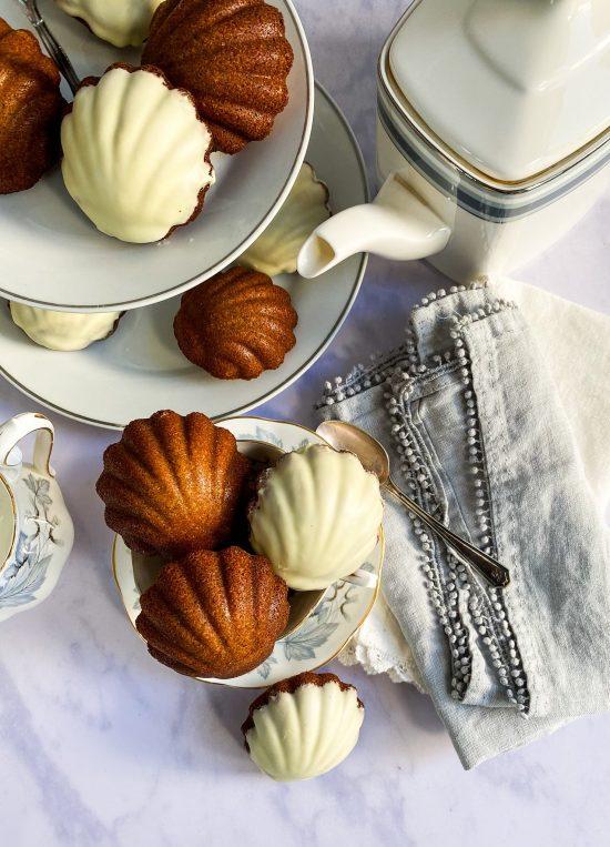 Earl Grey Madeleines with White ChocolateRecipe - www.foodnerd4life.com