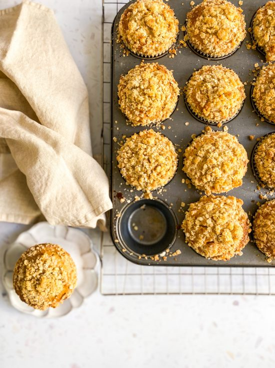 Peach Jam Middle Muffins with Streusel Topping Recipe- www.foodnerd4life.com