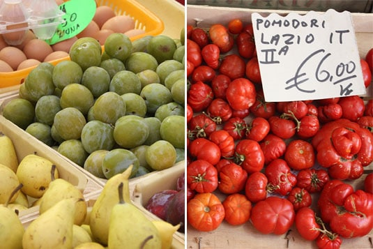 Fresh eggs, prunes, pears and tomatoes at the market