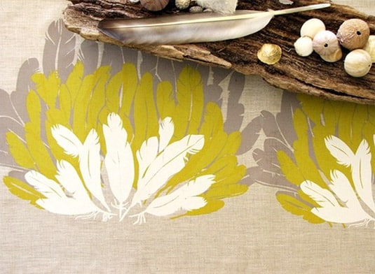 Feather Table Runner Hand-Printed on Eco-Friendly Linen (by Elkhorn Design)