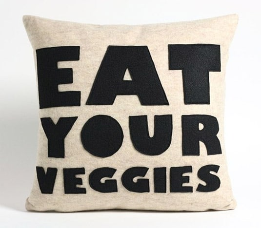 """Eat Your Veggies"" Oatmeal and Black Recycled Felt Applique Pillow (by Alexandra Ferguson)"