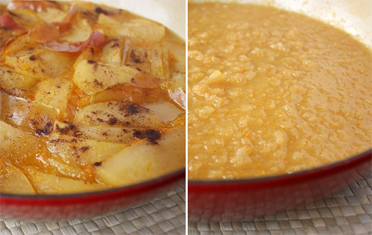 The applesauce as it comes out of the oven, and once whisked.