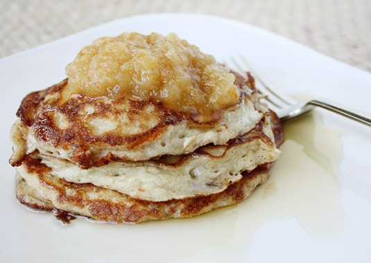 Apple and Cheddar Whole Wheat Pancakes with Baked Applesauce