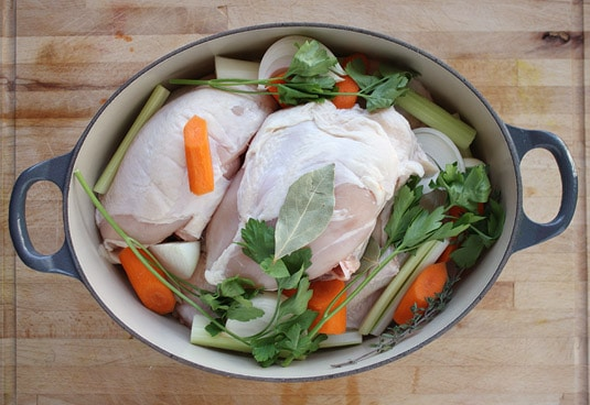 All ingredients packed in a Dutch oven.