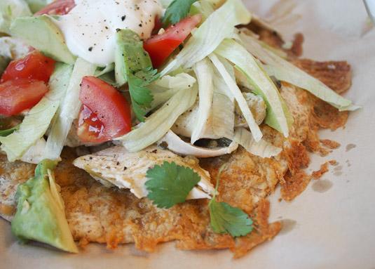 Closeup of Chicken Tostadas with Salsa Verde