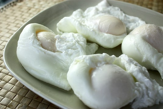Perfectly cooked poached eggs.
