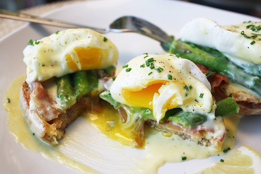 Eggs poached to perfection in my Eggs Benedict with Steamed Asparagus and Crispy Prosciutto