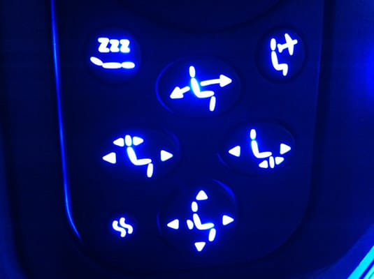 First class seat controls.