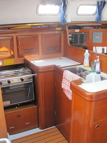 """Our kitchen for the week, in a 36' sailboat called """"Congo""""."""