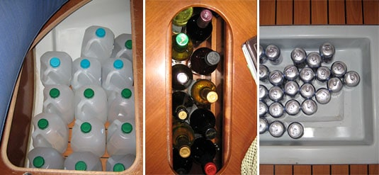 A boat features a lot of hidden storage: water gallons under the seats, wine bottles into the table, beer cans under a floor panel..
