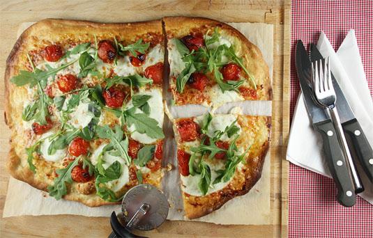 Roasted Cherry Tomatoes, Fresh Mozzarella, Basil & Rocket Roman-Style Pizza