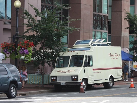 The Mama Kim's Korean food truck parked on Kennedy Plaza, Providence.