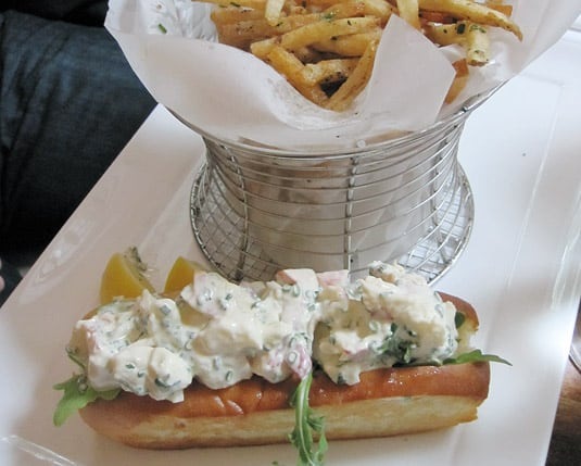 Dune's classic Chatham lobster roll with lemon chive aioli & garlic fries, Nantucket