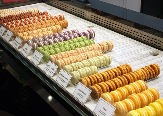 Rows and rows of macaron goodness at Bisous Ciao, New York City.