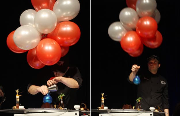 Chef Sébastien Camus' performance ended with a giant blueberry (made out of sugar) sent floating over the stage.