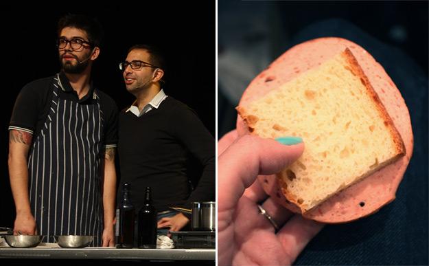 "Left: Chef Phil Viens of Restaurant DNA in Montréal, with a representative of Société Original. Right: Chef Viens' ""Baloney"" sandwich."